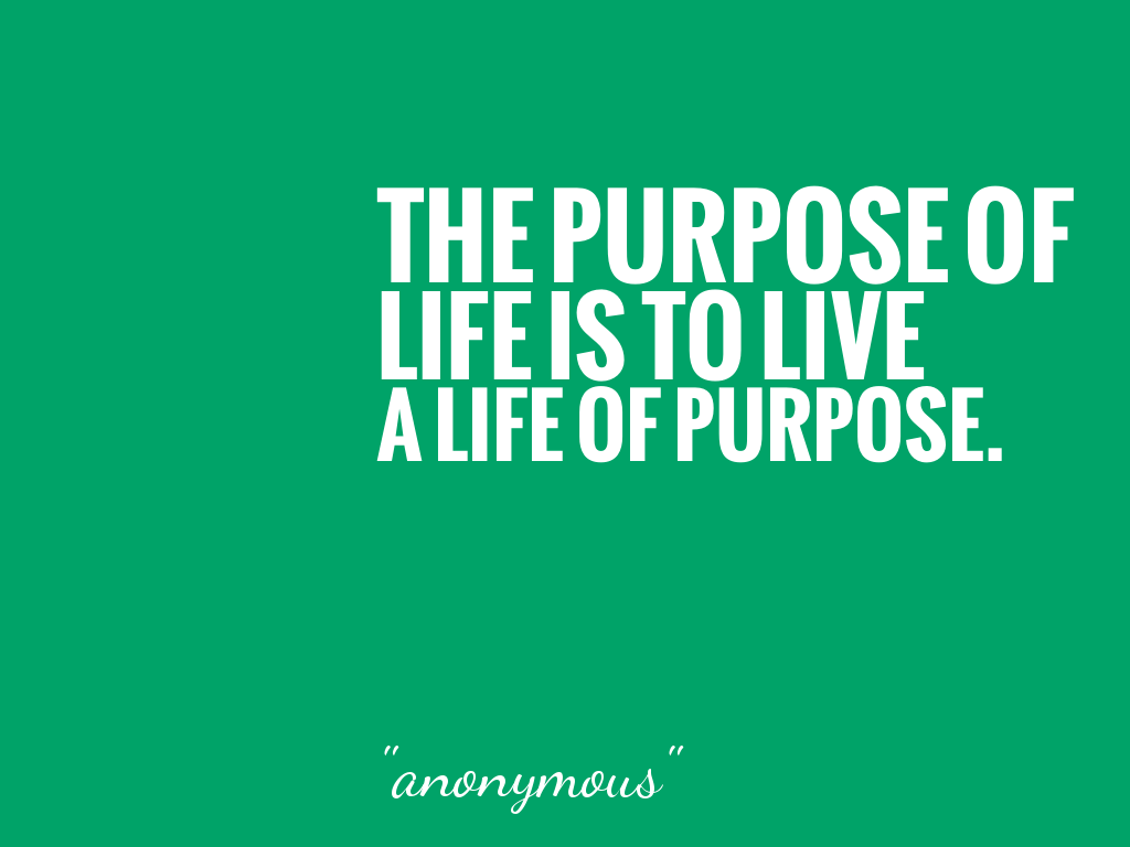 THE PURPOSE OF LIFE IS TO LIVE A LIFE OF PURPOSE.   alt=