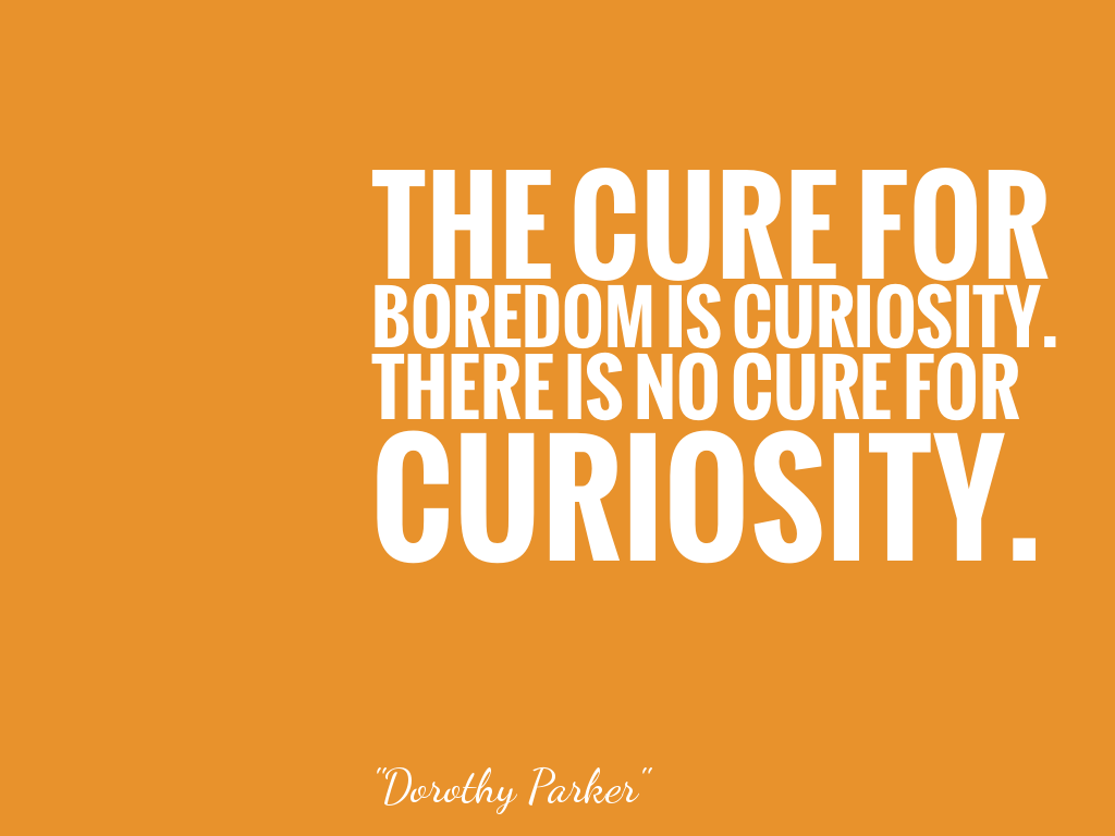 THE CURE FOR BOREDOM IS CURIOSITY. THERE IS NO CURE FOR CURIOSITY.  alt=