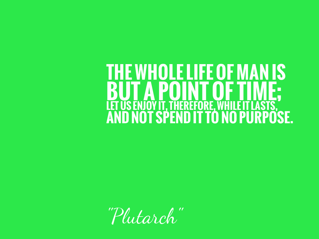 THE WHOLE LIFE OF MAN IS BUT A POINT OF TIME; LET US ENJOY IT, THEREFORE, WHILE IT LASTS, AND NOT SPEND IT TO NO PURPOSE.