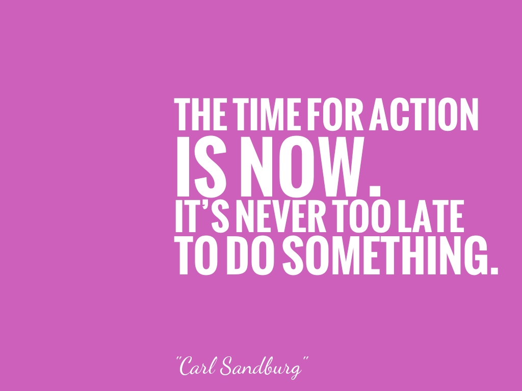 THE TIME FOR ACTIONIS NOW.IT'S NEVER TOO LATETO DO SOMETHING. alt=