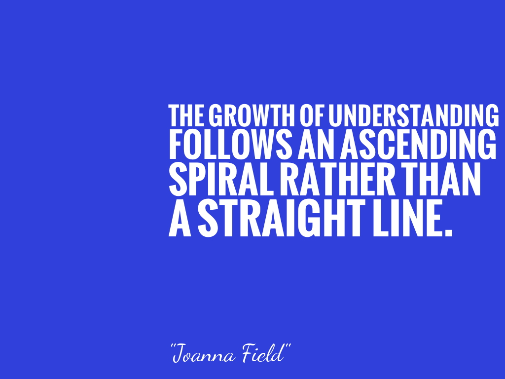 THE GROWTH OF UNDERSTANDING FOLLOWS AN ASCENDING SPIRAL RATHER THAN A STRAIGHT LINE.  alt=