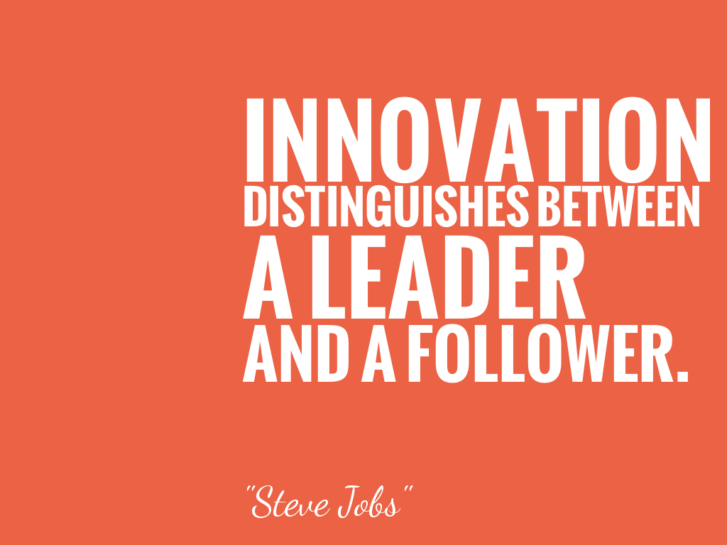 INNOVATION DISTINGUISHES BETWEEN A LEADER AND A FOLLOWER.  alt=